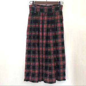 Vintage Plaid Midi Skirt Small